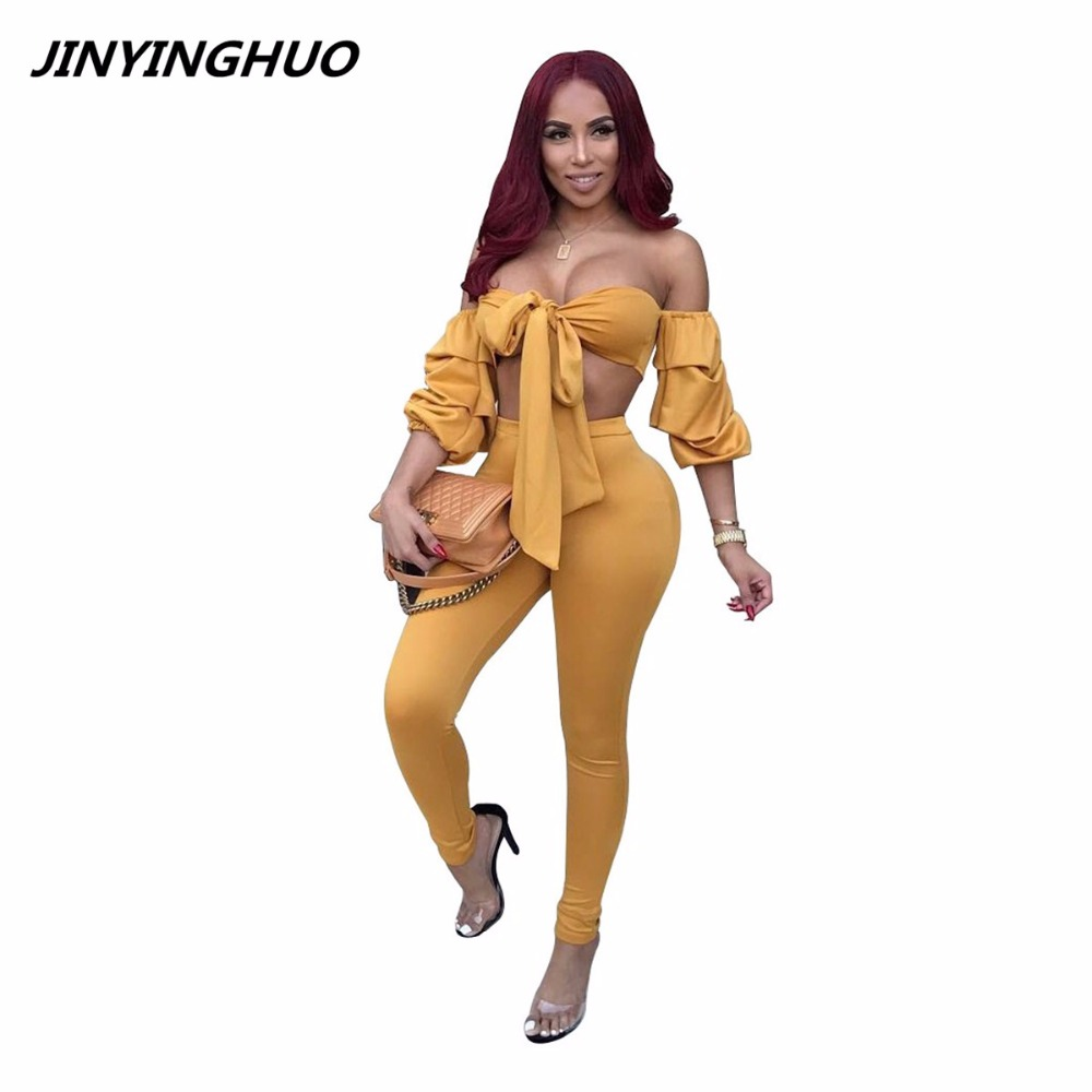 New Bow Tie Jumpsuits Women Long Sleeve Off Shoulder Rompers Womens Jumpsuits Sexy Club Two Piece Overalls Female T040