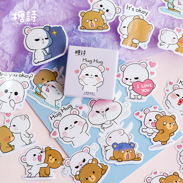 Cute Hug Hug Bear Decoration Adhesive Stickers Diy Cartoon Stickers Diary Sticker Scrapbook Kawaii Stationery Stickers