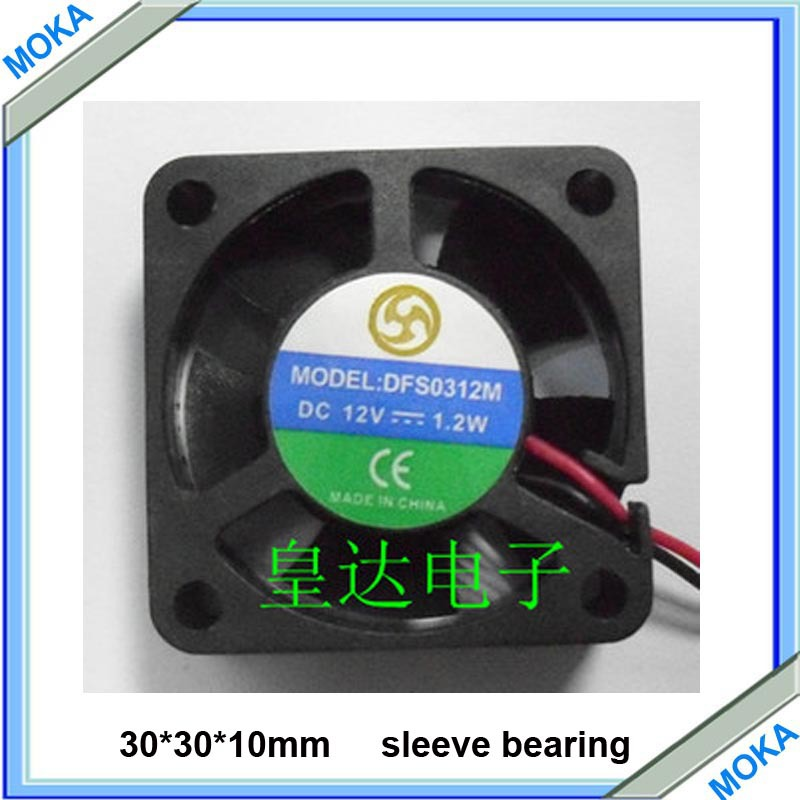 Free Shipping 5 pcs a Lot Cooling Fan 30*30*10 mm Sleeve Bearing Axial Flow Fan 12 VDC Brushless Industrial Fan