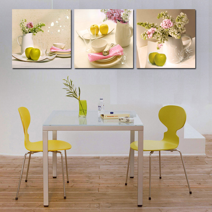 3 Pieces Fine Wall Painting Canvas Flower And Apple Cafe Tableware Art Pictures For Dinning Room