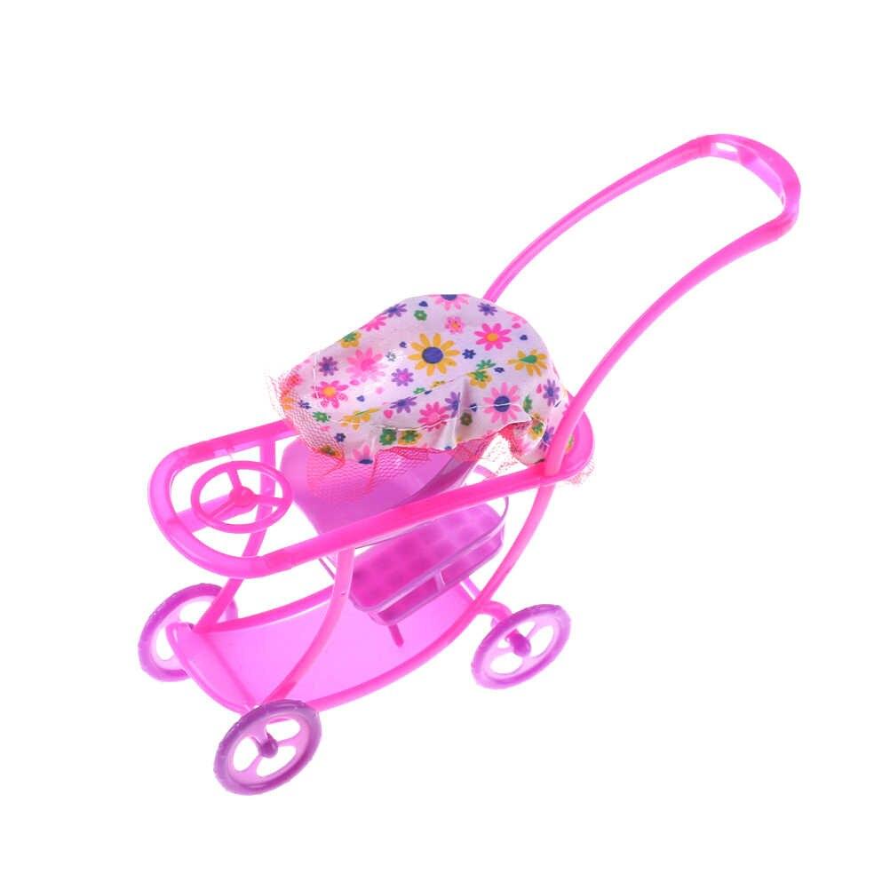 Dollhouse Furniture Mini Baby Walker Stroller Carriages Shopping Cart Dolls For Mini Dolls Children Girl Furniture Doll Kids Toy