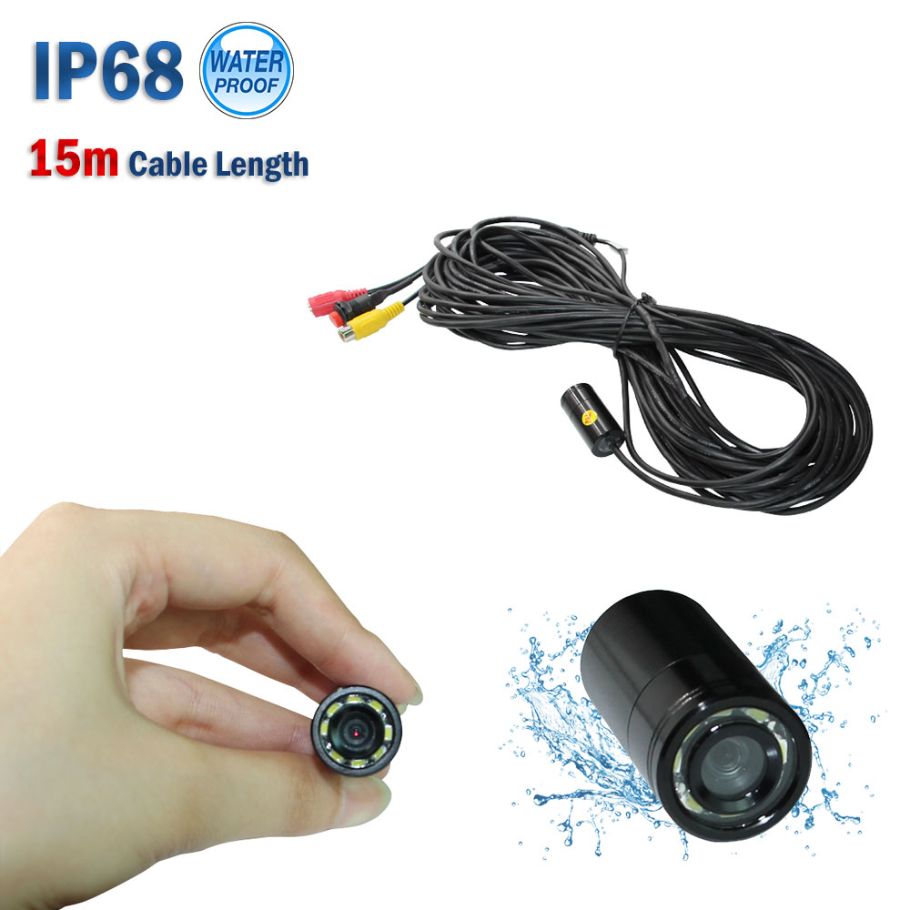 Free shipping 15m 4-24V 90 deg underwater fish finder fishing waterproof video camera with 8 LED  lamps
