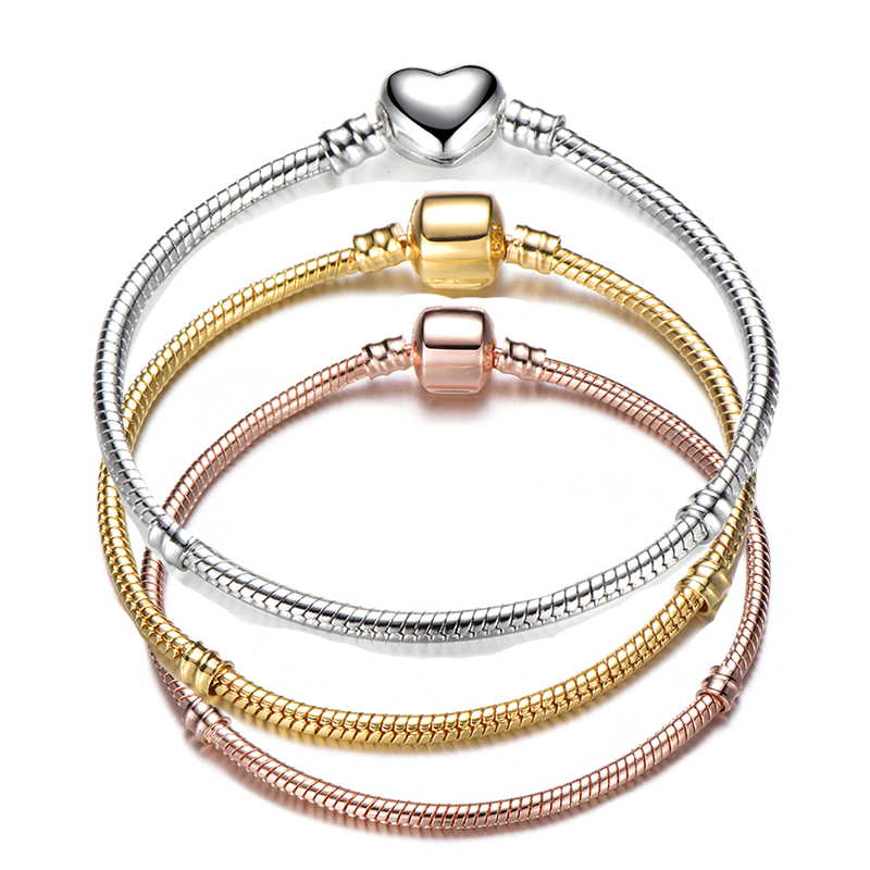 Hot Sale Retro Silver Plated Snake Chain DIY Charm Bracelet & Bangle 17-21cm Brand Bracelet Jewelry for Women Gift 2019 NEW пандора браслет с шармами