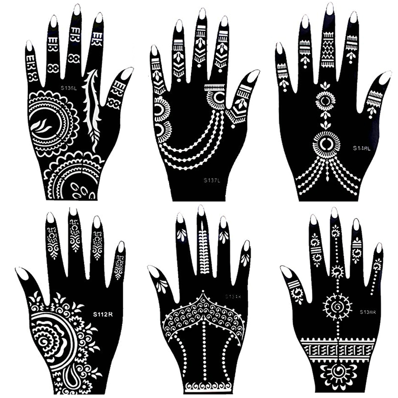 Indian Henna Tattoos Full Body: 1 Sheet Hand Large Henna Tattoo Templates For Body Paint