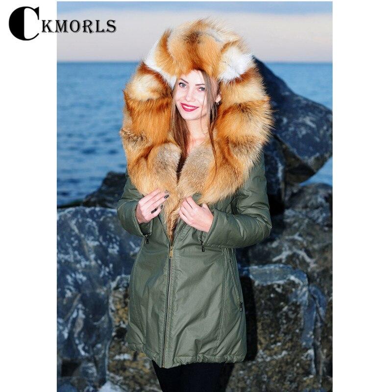 CKMORLS реальные шубы для Для женщин зимние парки с большой красный лисий мех Куртка с воротником роскошный мех верхняя одежда толстые теплые ...