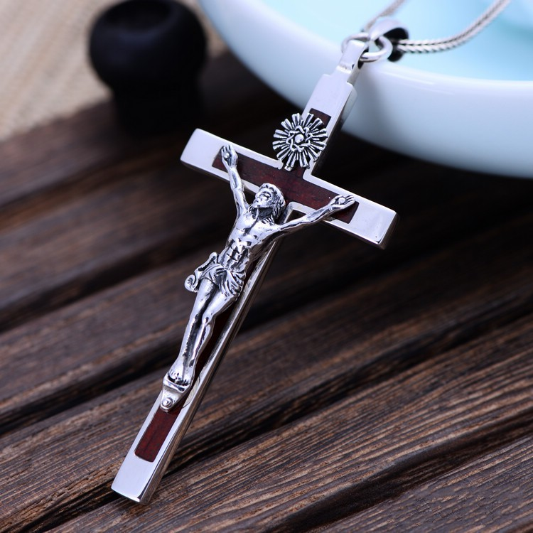S925 rétro catholique sainte croix crucifix crucifixion de jésus pendentif