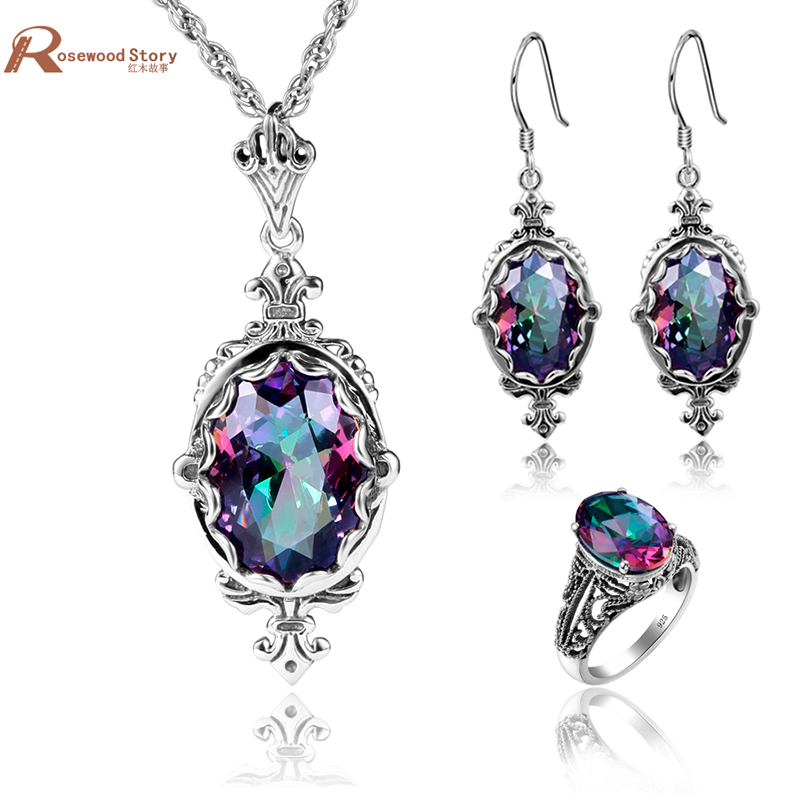 Dubai Jewelry Sets Earrings Ring Fire Mystic Rainbow Vintage Crystal Earrings Solid 925 Silver Bridal Wedding