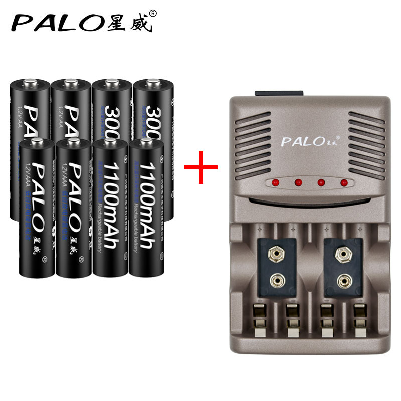 Original Charger Smart Intelligent Battery Charger For 3A AA AAA Battery NiCd NiMh 4pcs AA 4pcs