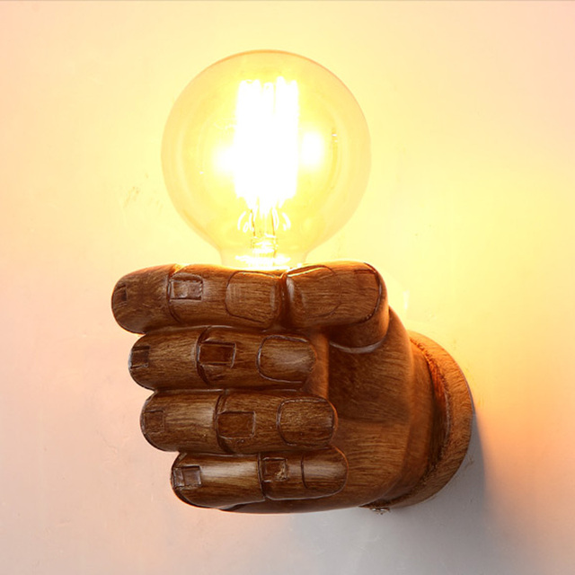 Industrial Retro Clenched Fist Wall Sconce Creative Resin Indoor ...