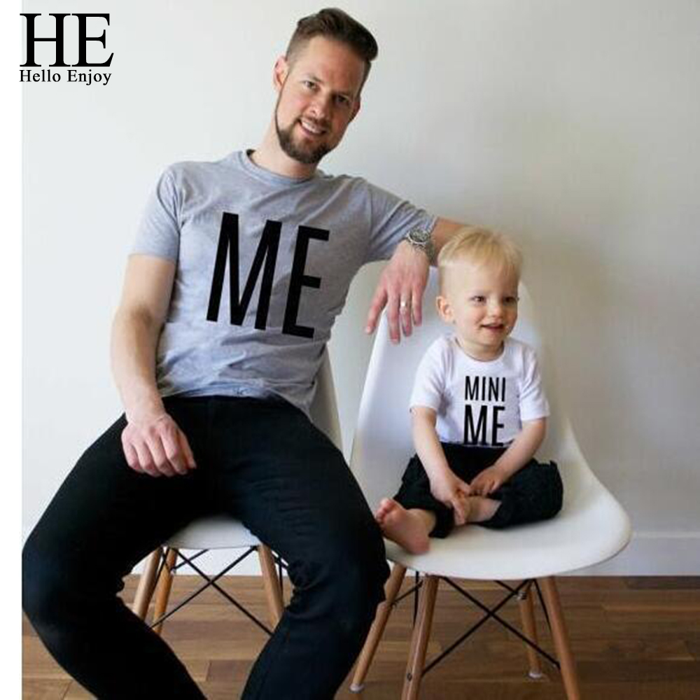 HE Hello Enjoy Father And Son Clothes Top Tee Summer Print Letter Family Matching Outfits Boy t shirts family look pajama Black flamingo and jungle leaf print top and pants pajama set