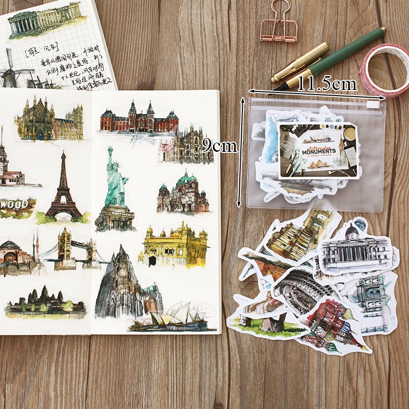40 Best American Stationery Gifts Images On Pinterest: 40pcs/bag Kawaii Decorative Retro Vintage Buildings Paper