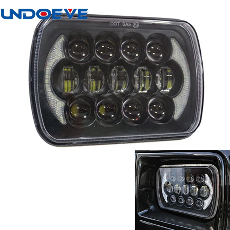 Undoeve 5x7 7x6 led headlight 7 inch 105W headlamp Replacements for 1986-1995 Jeep Wrangler YJ and 1984-2001 Jeep Cherokee XJ pair 105w 7 inch led headlight for jeep