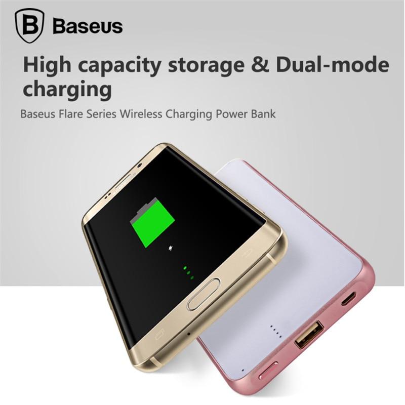 BASEUS הדגל טעינה אלחוטית בסיס כוח בנק סוללת גיבוי 5000mAh מהר מטען לאייפון לסמסונג כל טלפונים ניידים