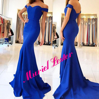 Vestido Gala Off The Shoulder Prom Dress Mermaid Royal Blue Satin Formal Dresses Custom Made Evening Party Gowns Sexy Design