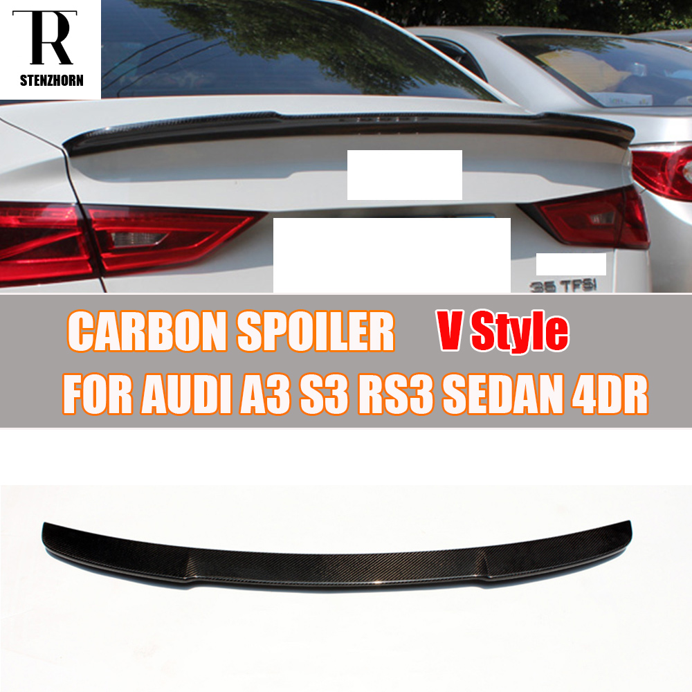 A3 S3 RS3 V Style Carbon Fiber Rear Wing Spoiler for Audi A3 S3 RS3 4 DOOR Sedan 2014 2015 2016 a3 s3 carbon fiber replace style side rear mirror cover trims for audi a3 s3 2014 2015 2016 with side assist