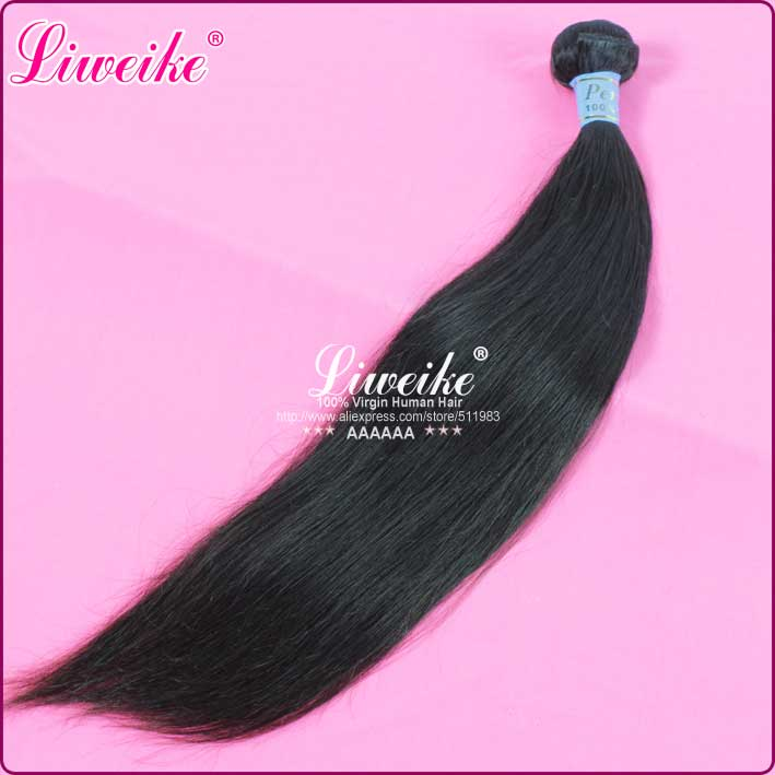 peruvian virgin hair human hair extension straight hair 1B color no shedding 1pc/lot DHL free shipping