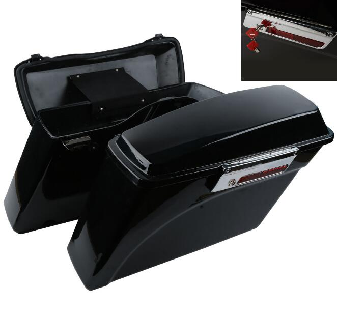 Vivid Black Hard Saddlebags Saddle Bag Trunk With Lid & Latch Key For 94-2013 Harley HD Touring Road Glide King new dmc ast075a touch screen glass