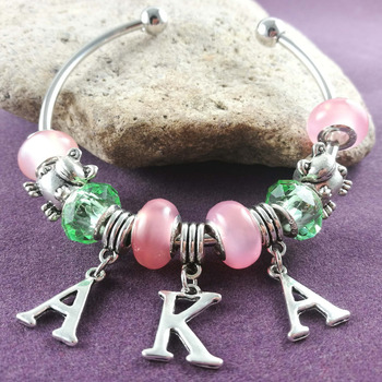 NEW pink and green Bead AKA frog Charm Bangle sorority fraternity jewelry drop shipping