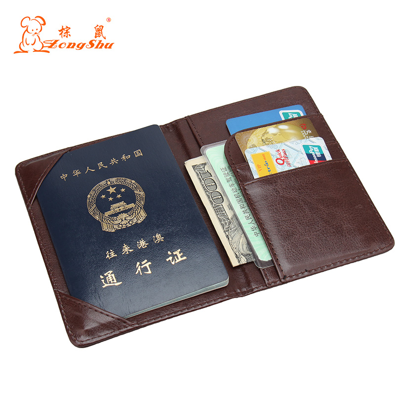 Zongshu PU Leather Passport Cover Solid Pattern Engrossed Travel Visiting Passport Protector Credit Card Case (Custom available)