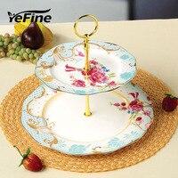 YeFine European Style Double-deck Obstschale Großhandel Keramik Kuchen Platten Snack Trockenen Fruchtschalen Porzellan Snack Ständer Halter