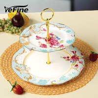 European Style Double Deck Fruit Dish Wholesale Ceramic Cake Plates Snack Dry Fruit Trays