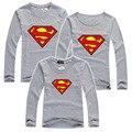 Família Superman Conjuntos de Roupas Combinando camisa de Manga Longa T Para A Família Filho Pai Roupas Combinando Roupas Filha Da Mãe