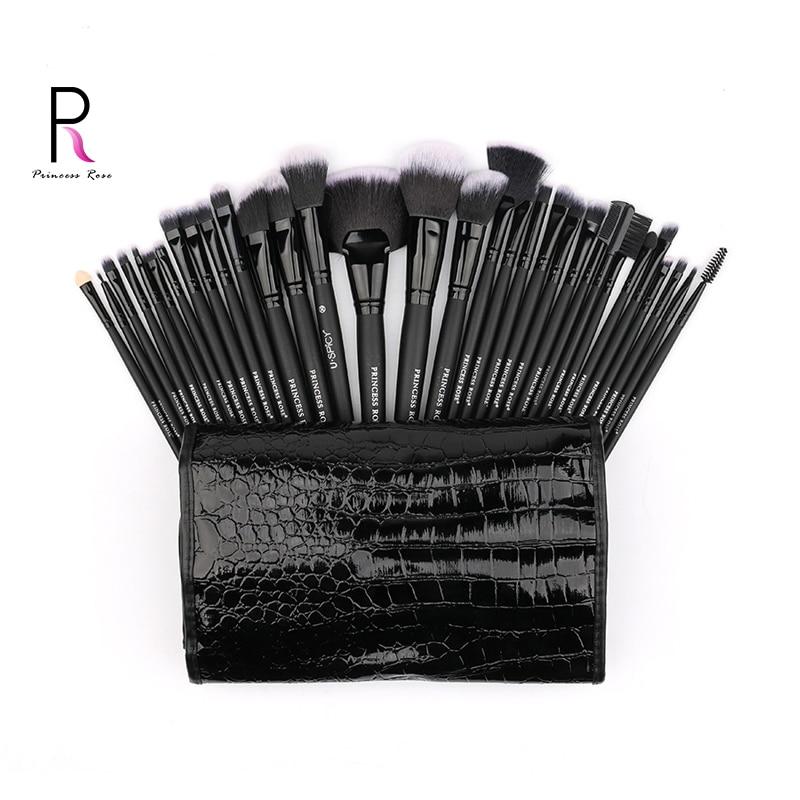Princess Rose Brand 32pcs Professional Full Make Up Kit Makeup Brushes Set +Bag for Foundation Blush Contour Eyeshadow Lip PR32B makeup brushes