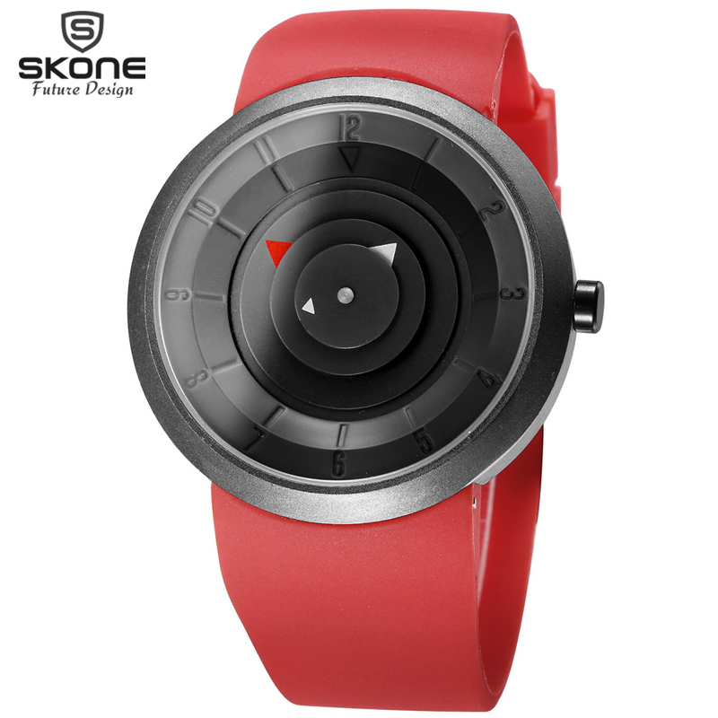 SKONE Vogue Concept Style Novelty Watches Men Fashion Casual PU Strap Quartz Watch Students Shock Hours