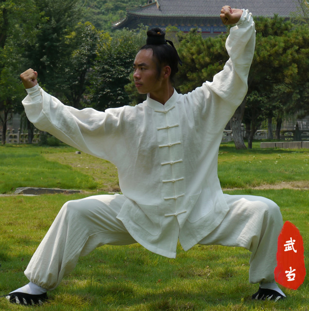 High-grade white black Chinese Wudang Taoist Robe Style Tai Chi Suit Shaolin Kung fu Uniform Wing Chun Martial arts Clothes master recommend movement triangle frame wing chun wooden dummy donnie ye used standard kung fu wooden dummy martial arts