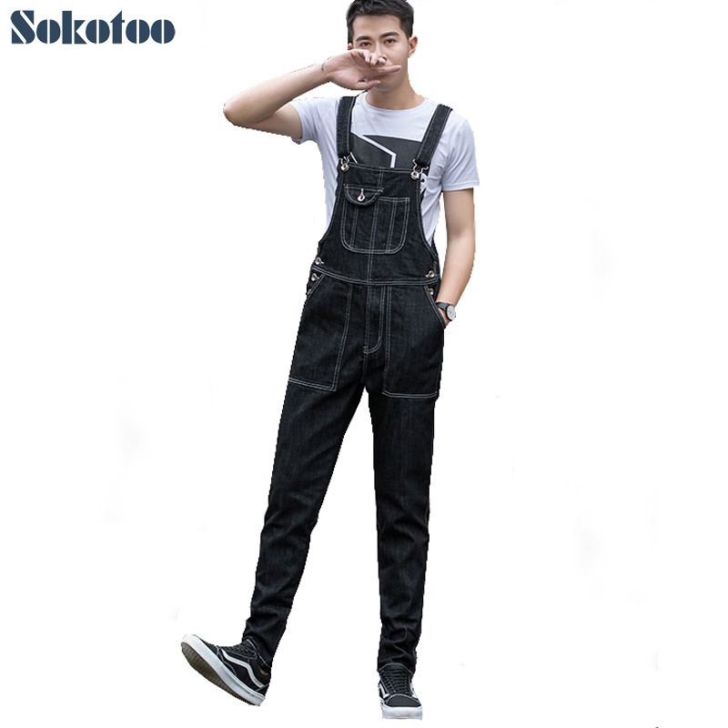 Sokotoo Men's casual plus large size loose denim bib overalls All match pockets cargo jeans Suspenders jumpsuits sokotoo men s denim bib pants male loose plus size casual jeans straight one piece long trousers suspenders overalls jumpsuit