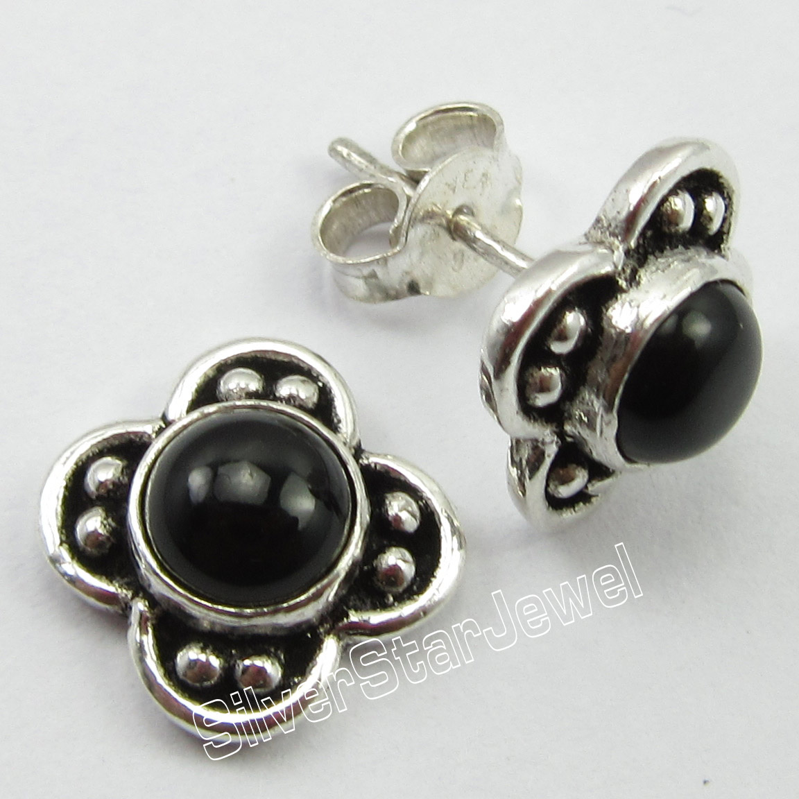 67b67ba47909 Chanti plata pura internacional negro Onyx gemset diseñador post Pendientes  1.5 cm cumpleaños