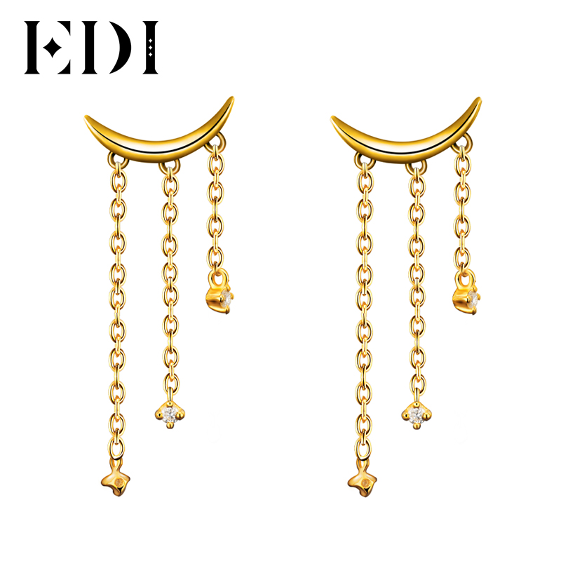 EDI Unique Natural Real Diamond Moon Drop Earrings For Women 14K 585 Yellow Gold Fashion Tassels Earrings Fine Jewelry Gifts moon design drop earrings
