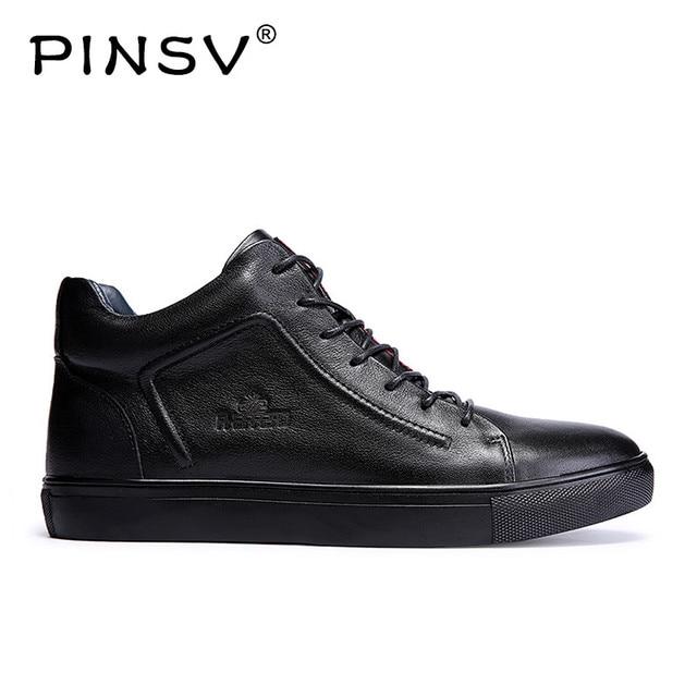 PINSV Kışlık Botlar Erkekler Nefes Erkekler Rahat deri ayakkabı Erkek Ayakkabı Deri Hakiki Açık Erkek Ayakkabı Büyük Boy 36-48