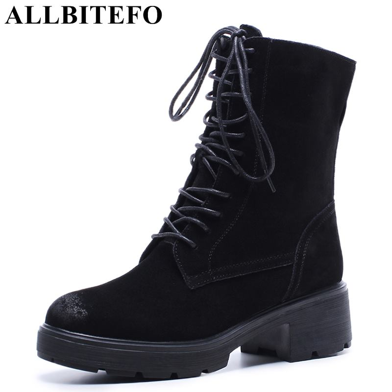 ALLBITEFO new arrive Nubuck leather thick heel women boots brand high heels ankle boots women girls shoes botas femininas женские блузки и рубашки brand new ropa camisas femininas kimono cardigan
