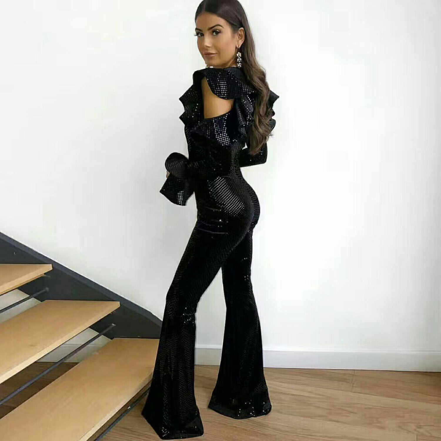5b9eca6bf27 ... MEQEISS Black Sequin Jumpsuit Women Long Sleeve Sparkly Bodycon  Jumpsuits Sexy Rompers Glitter Club Party Jumpsuits ...