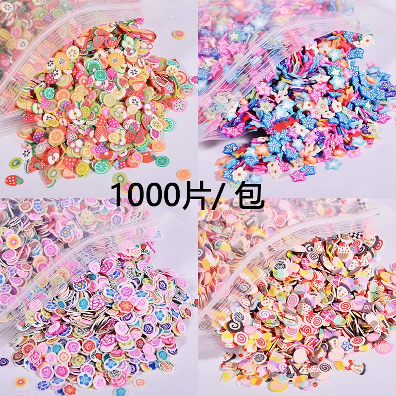 1000pcs/bag Ornaments Soft Pottery Tablets Fruit UV Resin Epoxy Resin Mold Makeing Jewelry