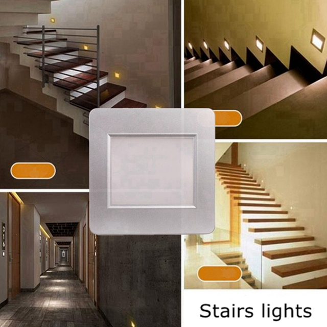 10pcs Indoor PIR Motion Sensor Led Stair Light Infrared Human Body Induction Wall Lamp Recessed Step Ladder Wall Light