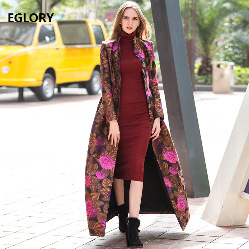 X-Long Trench Coat Spring Autumn Windbreaker Women Floral Print Single Breasted Casual Plus Size 4XL Maxi Coats Long Overcoats
