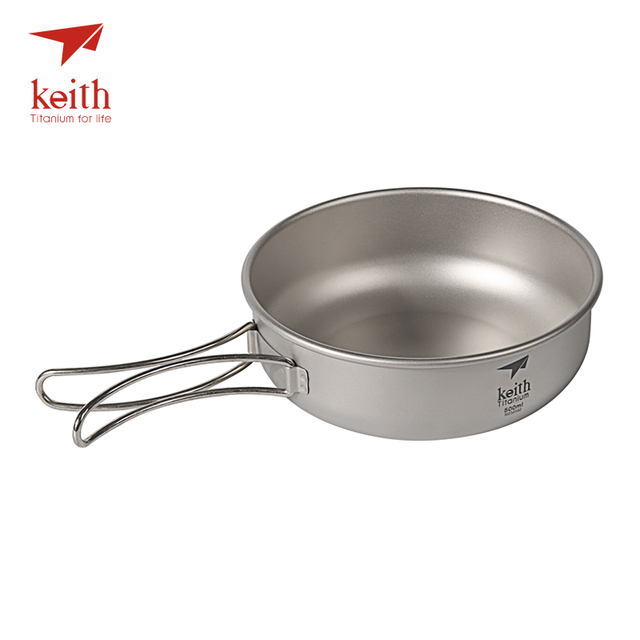 Keith Camping Titanium Bowls 300ml 600ml With Titanium Folding Handles Folding Bowls Cookware Tableware Cutlery Ti5323 Ti5326