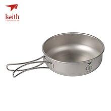 Keith Camping tytanowe miski 300 ml 600 ml z tytanowymi składanymi uchwytami składane miski naczynia stołowe sztućce Ti5323 Ti5326