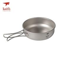 Keith Camping Titanium Bowls 300ml 600ml With Titanium Folding Handles Folding Bowls Cookware Tableware Cutlery Ti5323
