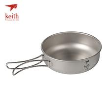 Keith cuencos de titanio para acampar, 300ml 600ml, con asas plegables de titanio, cuencos plegables, utensilios de cocina, cubiertos, Ti5323 Ti5326