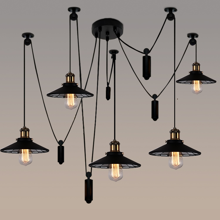 Loft Industrial Iron Pulley Spider Pendant Lights American Vintage Living Bedroom Bar  Edison Pendant Lamp Fixtures