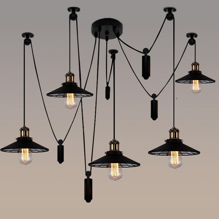 Loft industrial Iron Pulley spider Pendant Lights American Vintage living bedroom bar  Edison Pendant lamp fixtures