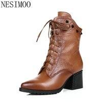 NESIMOO Tamanho 34-42 Estilo Vintage Quadrado Preto Mulher de Salto Alto Ankle Boots Mulheres Sapatos de Couro Genuíno Das Senhoras Da Motocicleta botas