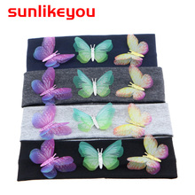 Sunlikeyou Newborn Photography Props Children Boys Girls Elastic Cotton Kids Toddler HairBands Turban Butterfly Baby Headband
