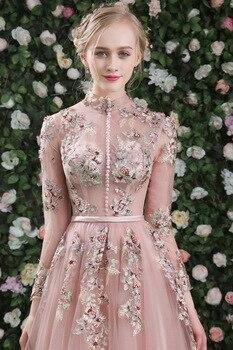 Sweet Blush See Through Beading Lace Vestido De Festa Flower Formal Long Evening Dresses Full Sleeves Party Gowns Robe De Soiree