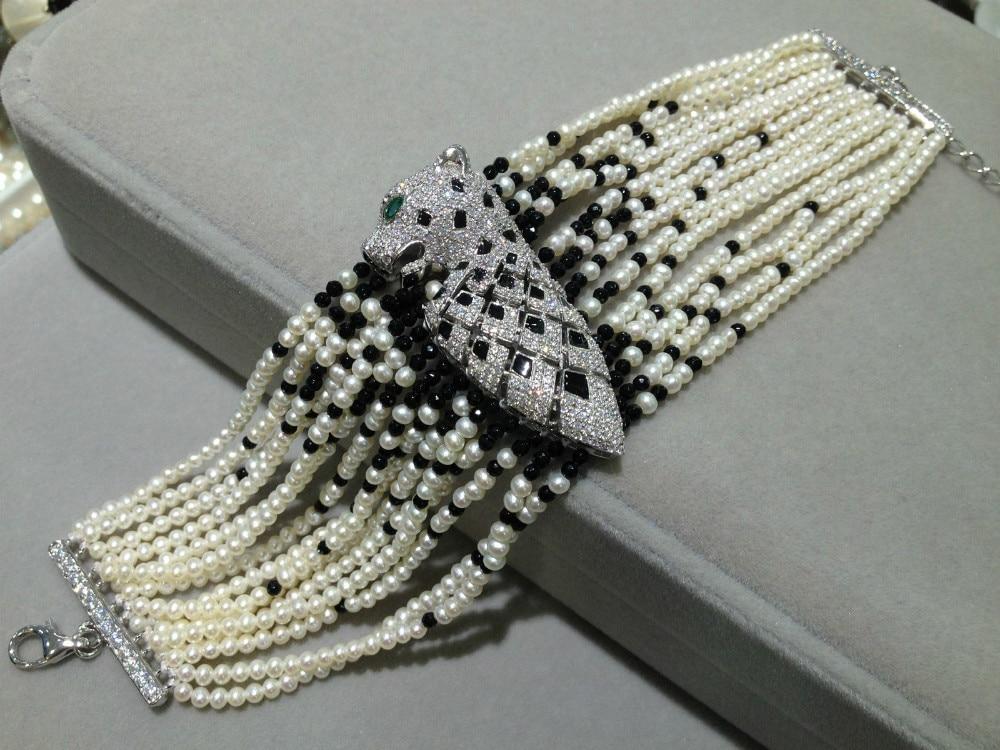 Bracelet perle naturelle 2-3mm Bracelet perle multicouche léopard 925 argent Sterling avec Zircon