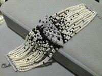 2 3 мм натуральный жемчуг браслет многослойные жемчуг камень браслет Леопардовый стерлингового серебра 925 пробы с цирконом