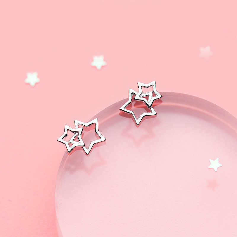 MloveAcc 100% 925 Sterling Silver Women Jewelry Fashion Tiny Star Stud Earrings Gift for Girls Kid Lady Women